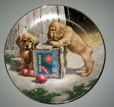 Double Take by Jim Lamb Puppy Playtime Porcelain Plate