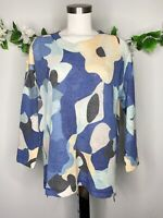 Nally Millie Floral Blue Multicolor Hi-low 3/4 Sleeves Women's Sz L/XL Top Tunic