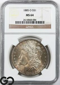 1885-O MS64 Morgan Silver Dollar Silver Coin NGC Mint State 64 ** Very Nice!