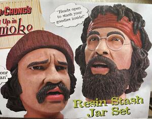 Cheech and Chong Up in Smoke Resin Stash Jars by NECA 2004 In Original Box RARE!