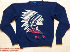 Vintage Polo Ralph Lauren Indian Head Knit sweater Pwing Ski92 Hi Tech Stadium L
