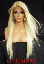 Hot Lace Front Wigs New Beautiful Women's Long Platinum Blonde Straight Full Wig