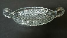 Vintage Depression Glass Serving Boat Oval Shaped Dish With Handles