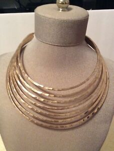 Robert Lee Morris Genuine Gold Plated Bib Necklace Signed NWT