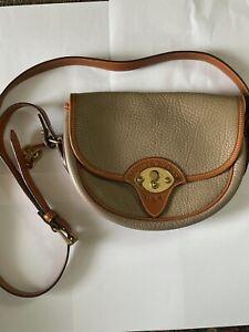 Vintage Dooney & Bourke Two Tone Tan Leather Crossbody Purse