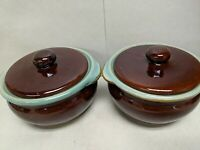 2 VTG Brown w/Green Glaze Rim & Inside Pottery Stoneware Small Crocks w/lids