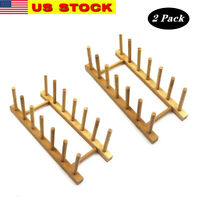 2x Bamboo Wooden Dish Rack Plate Stand Pot Lid Holder Cabinet Organizer Kitchen