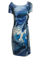 BEALES Made in England Draped Shift Dress Blue White Artsy Colourway UK 16 L