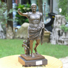 "12"" Western Bronze Marble Man Augustus Octavian Gaius Cute Angel Art Deco Statue"