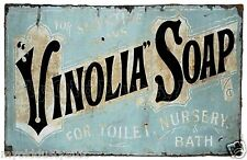Vintage Early 1900's Vinolia Soap Sign 12 x 18 Poster - Shabby Chic - Titanic