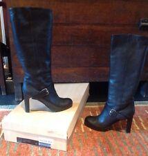 Tapeet Vicini Donna Women's Tall Black Leather Italian Boots Lug Sole Sz 40 9.5