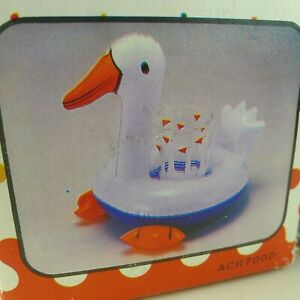 Mr. Goose Inflatable Drink Caddy Matching Tumbler Vtg. 80's For Pool