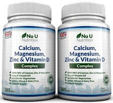 Calcium Magnesium Zinc Vitamin D Supplement 365 x 2 Bottles Vegetarian Tablets