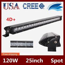 "4D+ SLIM 25inch 120W Spot Led Light Bar Driving Jeep Truck Offroad 12V24V 24/22"""