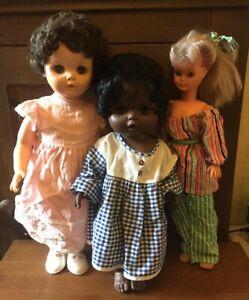 Vintage Bundle Job Lot of Large Plastic Pram Baby Dolls inc Black Teenage Creepy