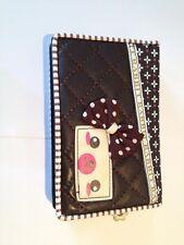 Nuevo de imitación de cuero Checker Board Osito 3d Arco Flor Billetera Monedero marrón