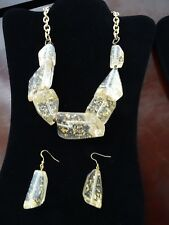 Necklace  & Earrings Set Gold & Clear - Worn Once- Retailed for over $40 for set