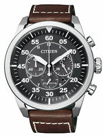 Citizen Eco-Drive Solar Powered Leather Strap Chrono Mens Steel Watch CA4210-16E