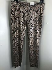 New Hue Women's Black And Gold Leggings Size Large.   (g1)