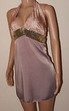 VICKY MARTIN pink gold sequin mini halter paisley dress fits 8 10 BNWT RRP £165!