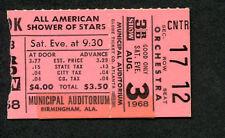 1968 Paul Revere and the Raiders Concert ticket stub Shower of Stars Birmingham