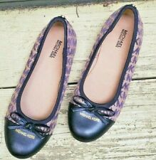Michael Kors Logo Ballet Flats Youth 3 M Womens 5 M Black Leather Slip-On Shoes
