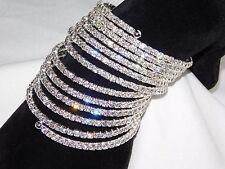 13 Spiral Party Silver Clear Rhinestone Bangle Crystal Upper Arm Bracelet Cuff