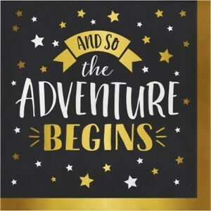 Adventure Begins Foil Stamped Lunch Napkins 16 Pack Gold Happy Retirement Party