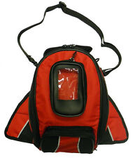 Vance Leather Magnetic Tank Bag with Reflective Piping - Red