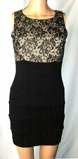 XXI Black & Champagne/Nude Sheath Dress with Lace-Overlay-Bodice, S/P