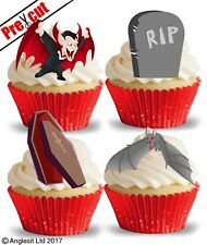PRE-CUT VAMPIRE & ACCESSORIES EDIBLE WAFER CUP CAKE TOPPER HALLOWEEN DECORATIONS