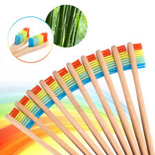 5X Bamboo Toothbrush Rainbow Teeth Brush Wooden Handle Oral Cleaner Dental Care