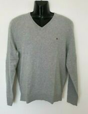 Tommy Hilfiger Mens Designer V neck Pima Cotton Cashmere Knit Jumper Sweater L