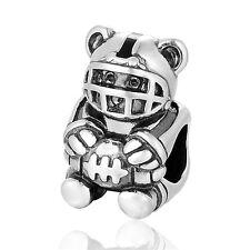 Teddy Bear Charm American Footbal Player - European Silver Charm - Birthday Gift