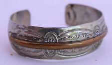 Brass & Sterling Silver Stamped Native American Navajo Bracelet Cuff Hallmark