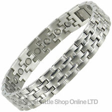 Mens Magnetic Stainless Steel Bracelet with Chrome Finish Strong Magnets Health