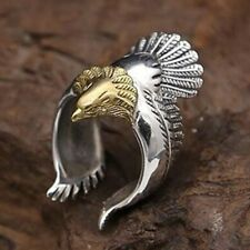 Unique Flying Eagle Biker Ring Cool Punk Men's Animal Open Ring Jewelry SIZE 12
