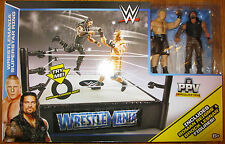 WWE Wrestlemania Ring Exclusive w/ ROMAN REIGNS & BROCK LESNER Figures PPV