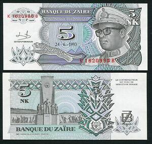 Congo Zaire 5 nouveaux makuta 1993.06.24. Mobutu P48 Signature 9 UNC