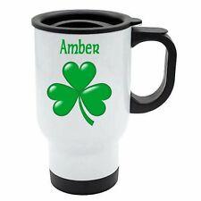 Amber - Shamrock White Reusable Travel Mug - Gift For St Patricks Irish