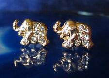 Pendientes Aros Elefante Chapado en Oro con Cristal Blanco