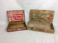 "2 X Vintage Wooden Advertising Display Boxes For ""Cadburys Chocolates"" C1920"