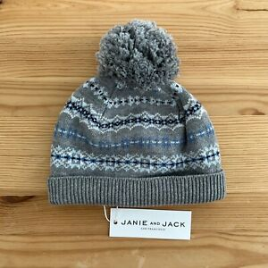 NWT JANIE AND JACK Gray Fair Isle Beanie Sweater Hat Size 6-12 Months