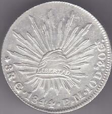 1844 Mexico Silver 8 Reales Guanajuato Go PM Coin Caps & Rays