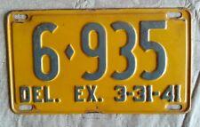 1940 - 1941 DELAWARE DEL. DE LICENSE PLATE TAG  6-935