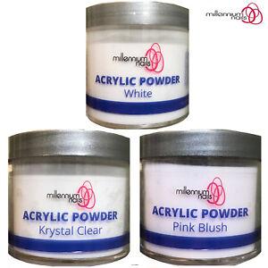 Millennium Nails Professional Acrylic Powder White Clear Pink 50-250gram