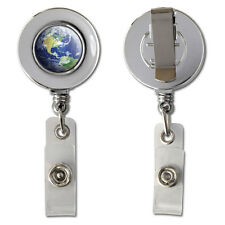 Earth - Planet - Globe Retractable Reel Chrome Badge ID Card Holder