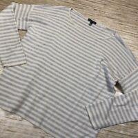 U-58~ Eileen Fisher Womens Pullover Sweater Blue Stripe Long Sleeve Scoop Neck M