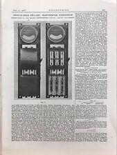 Switch Gear Pillars: Manchester Exhibition: 1908 Engineering Magazine Print