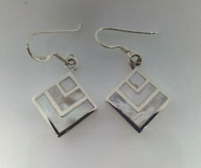 Sterling Silver Square Mother Of Pearl Drop/Dangle Earring